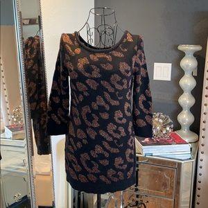 Glitter brown and black sweater dress
